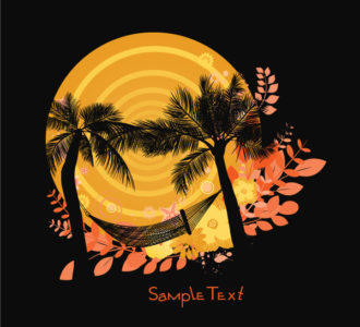 Summer Background With Palm Trees Vector Illustrations palm