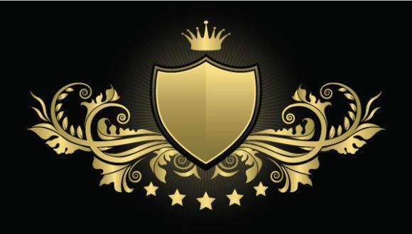 Vintage Emblem With Shield Vector Illustration Vector Illustrations star