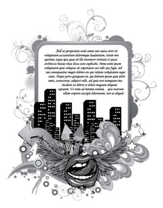 Vector Mouth With City And Floral Vector Illustrations building