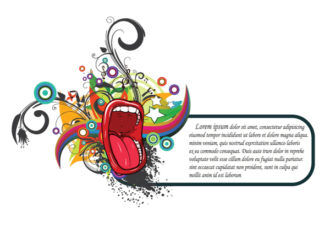 Mouth With Floral Vector Background Vector Illustrations star