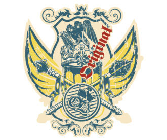 Vector Grunge Label With Crest Vector Illustrations old