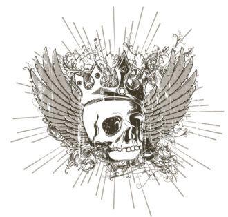 Vector T-Shirt Design With Skull Vector Illustrations old