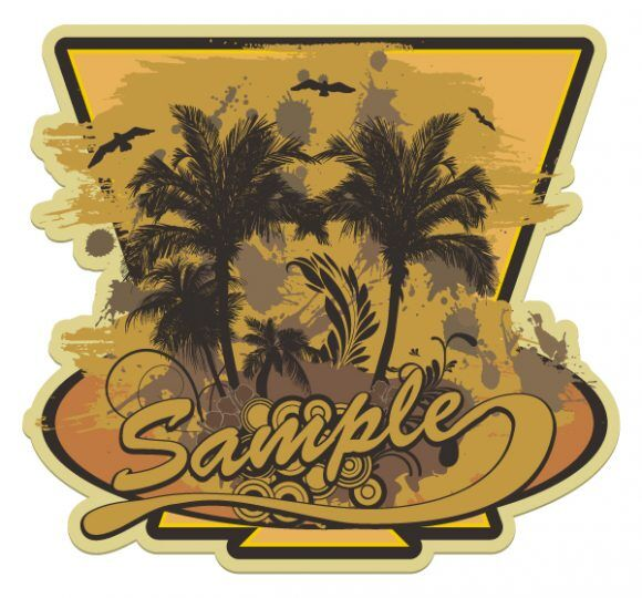 Vector Grunge Summer Label With Palm Trees Vector Illustrations palm
