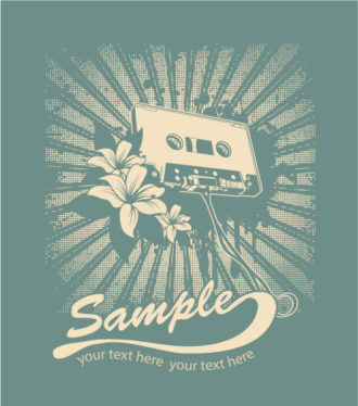 Vector Music T-Shirt Design With Cassette Scenes old