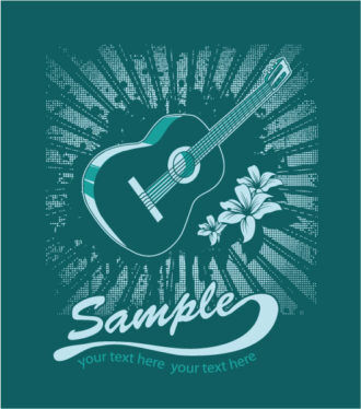 Vector Music T-Shirt Design With Guitar Vector Illustrations old