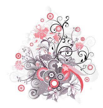 Vector Floral Illustration With Circles Vector Illustrations star