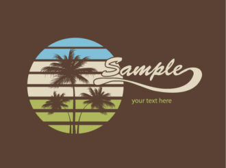 Vector Summer T-Shirt Design With Palm Trees Vector Illustrations palm