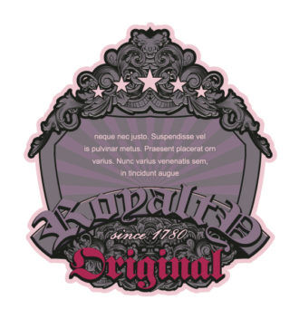 Vector Retro Floral Label With Ribbon And Shield Vector Illustrations star
