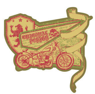 Vector Vintage Label With Motorcycle Vector Illustrations old