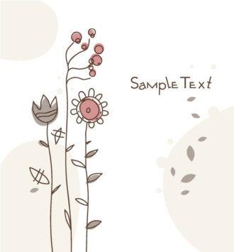 Doodles Floral Background Vector Illustration Vector Illustrations floral