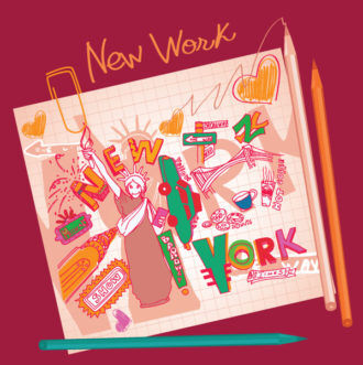 New York Doodles Vector Illustration Vector Illustrations building