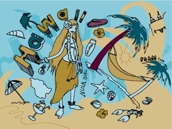 Hawaii Doodles Vector Illustration Vector Illustrations hammock