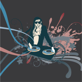 Vector Concert Poster With Dj Girl Vector Illustrations star