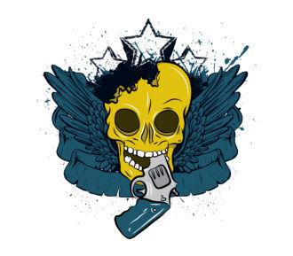 Vector Vintage Skull Tshirt Design Vector Illustrations star