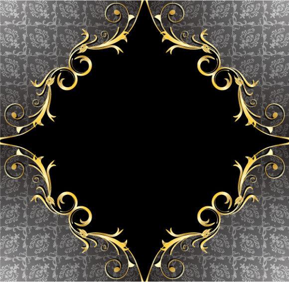 Damask Floral Frame Vector Illustration Vector Illustrations old