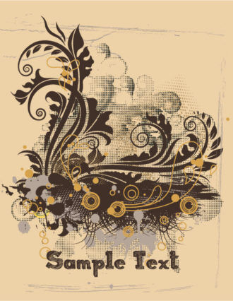 Vintage Grunge Floral Vector Illustration Vector Illustrations old