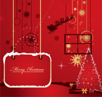 Christmas Greeting Card Vector Illustrations tree