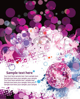 Vector Colorful Concert Poster With Discoball Vector Illustrations old