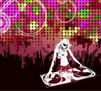 Vector Abstract Music Poster With Dj Vector Illustrations vector