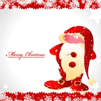 Christmas Greeting Card With Santa Vector Illustration Vector Illustrations star