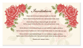 Vector Vintage Invitation With Roses Vector Illustrations old