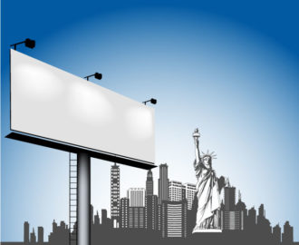 Vector Urban Illustration With Billboard Vector Illustrations building