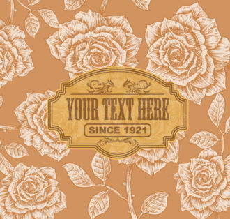 Vector Vintage Label With Floral Background Vector Illustrations old