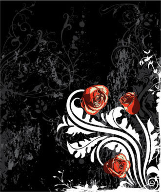 Vector Grunge Background With Roses Vector Illustrations old