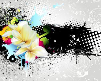 Vector Grunge Colorful Floral Background Vector Illustrations floral