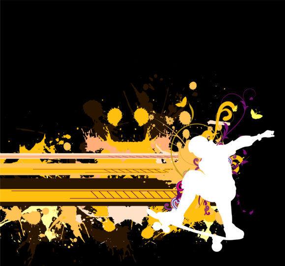 Vector Urban Grunge Background With Skater Vector Illustrations urban