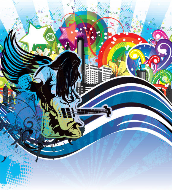 Vector Grunge Concert Poster With Guitar Player Vector Illustrations star
