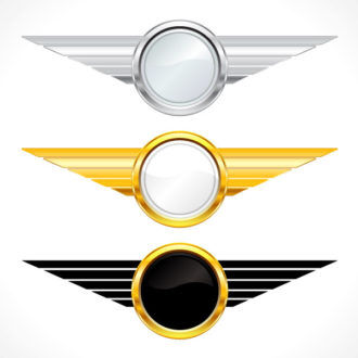 Gold Emblems Set Vector Illustration Scenes vector
