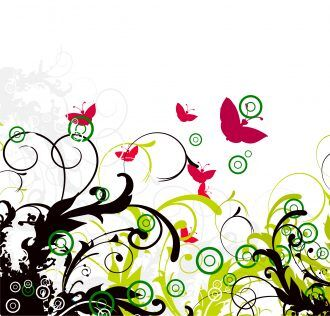 Abstract Illustration With Butterflies And Floral Vector Illustration Vector Illustrations old
