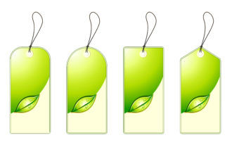 Vector Green Shopping Tags Set Scenes leaf