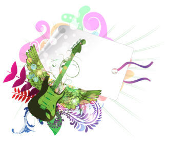 Vector Music Illustration With Guitar Vector Illustrations floral