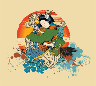 Vector Japanese T-Shirt Design With Geisha Vector Illustrations wave
