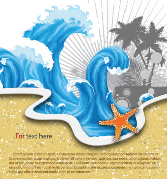 Vector Summer Background With Waves Vector Illustrations palm