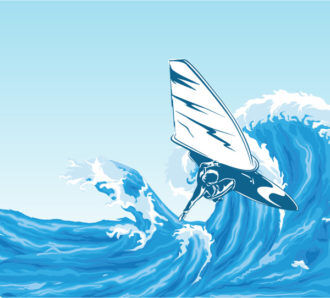 Vector Summer Background With Wind Surfer Vector Illustrations sea