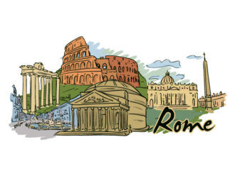 Rome Doodles Vector Illustration Vector Illustrations building