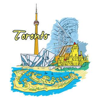 Toronto Doodles Vector Illustration Vector Illustrations building
