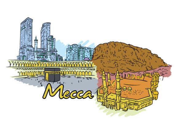 Mecca Doodles Vector Illustration Vector Illustrations building