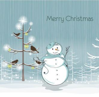 Snowman With Birds Vector Illustration Vector Illustrations tree