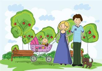 Cartoon Family Background Vector Illustration Vector Illustrations tree