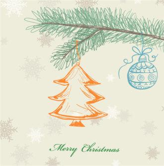Vector Christmas Greeting Card Vector Illustrations tree