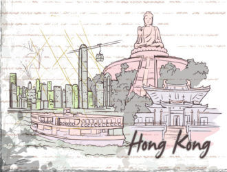 Hong Kong Doodles With Grunge Background Vector Illustration Vector Illustrations building
