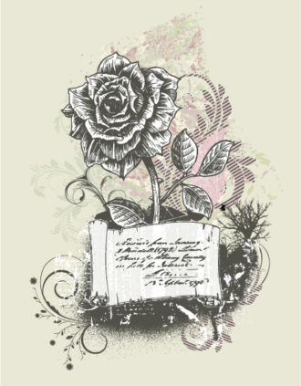 Vector Vintage Background With Rose Vector Illustrations old