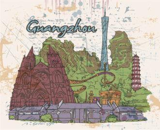 Guangzhou Doodles Vector Illustration Vector Illustrations building