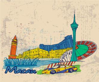 Macau Doodles With Grunge Background Vector Illustration Vector Illustrations building