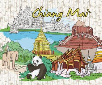Chiang Mai Doodles Vector Illustration Vector Illustrations tree