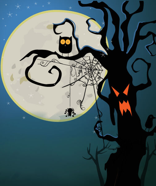 Halloween Background Vector Illustration Vector Illustrations tree